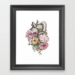 Floral Anatomy Heart Framed Art Print