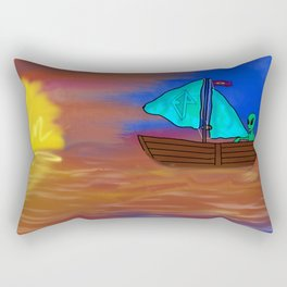Sunset Voyage with an Extraterrestrial Rectangular Pillow