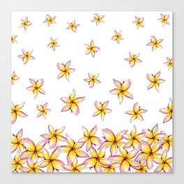 Lillies - Handpainted pattern - white background Canvas Print