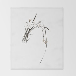 Singing Orchid Throw Blanket