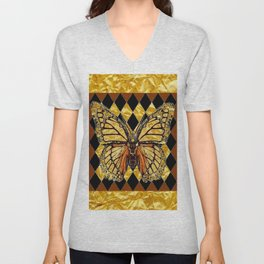 ABSTRACTED BROWN & GOLD MONARCH BUTTERFLY Unisex V-Neck