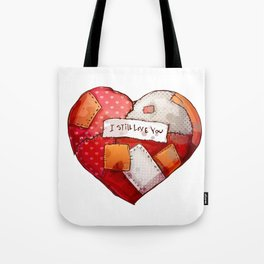 Heart with patches. Valentines day illustration. Tote Bag