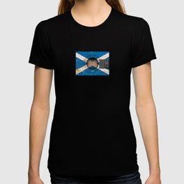 Old Vintage Acoustic Guitar with Scottish Flag T-shirt