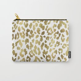 Leopard Spots (White And Gold) Carry-All Pouch
