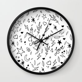 Graphic illustration of linear drawings. Circulation. Family, love, happiness, woman. Wall Clock