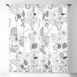 Modern elegant black white rustic floral illustration Blackout Curtain