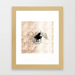Music, piano with key notes and clef Framed Art Print