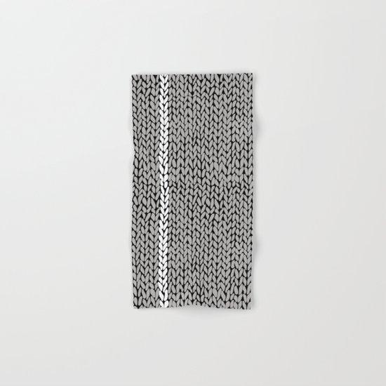 Grey Knit With White Stripe Hand & Bath Towel