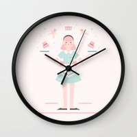baking Wall Clocks featuring Pink Sugar Baking Girl  by Carly Watts