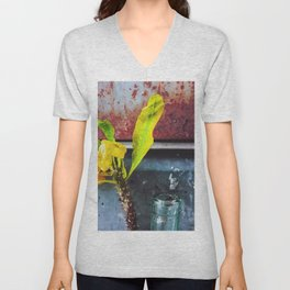 yellow euphorbia milii plant with old lusty metal background Unisex V-Neck