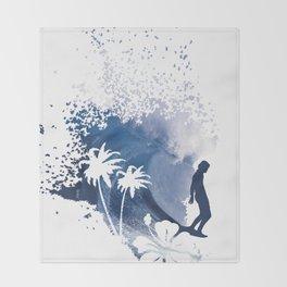The Longboard Surfer Throw Blanket