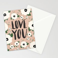 Love you floral - Tan Stationery Cards