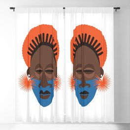 Afrocentric Mask African Traditional Geometric Face Tribal Ethnic Blackout Curtain