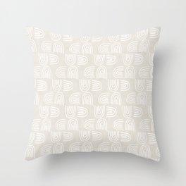 Handdrawn Rainbows in White Throw Pillow