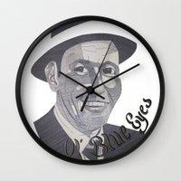 frank sinatra Wall Clocks featuring Frank Sinatra -- Ol' Blue Eyes by Bradlee254