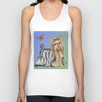 yorkie Tank Tops featuring Yorkshire Terrier - Yorkie- by Nina Lyman of Dogs By Nina by Cats and Dogs by Nina Lyman