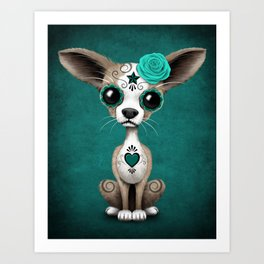 Blue Day of the Dead Sugar Skull Chihuahua Puppy Art Print