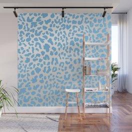 Light Blue & Silver Leopard Print Wall Mural