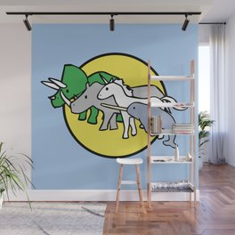 Horned Warrior Friends (unicorn, narwhal, triceratops, rhino) Wall Mural