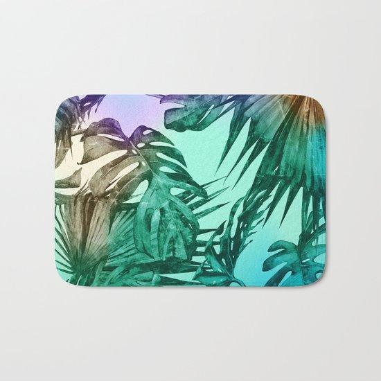 Simply Palm Leaves in Hologram Island Green Bath Mat