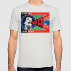 Rocky Balboa in Communist Advertisement Silver LARGE Mens Fitted Tee