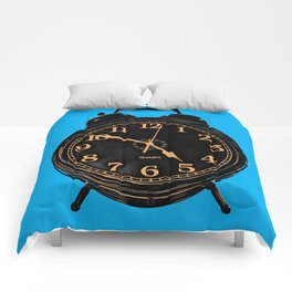 Pop Art Retro Alarm Clock Blue Square Comforters