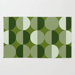 Retro circles grid green Rug