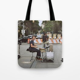 Drummer in the Park Tote Bag