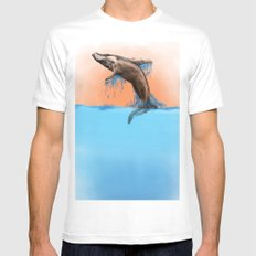 Breaching Whale Mens Fitted Tee MEDIUM White