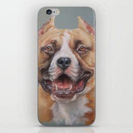 Happy Dog SMILING AMSTAFF FACE Cute pet portrait Pastel drawing Decor for Dog lover iPhone Skin