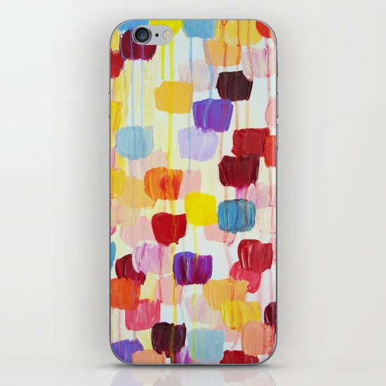 DOTTY - Stunning Bright Bold Rainbow Colorful Square Polka Dots Lovely Original Abstract Painting iPhone & iPod Skin
