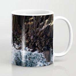 Aerial of Basalt waterfall flowing into the Atlantic ocean on the Isle of Skye - Landscape Photo Coffee Mug