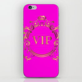 VIP in Hot Pink and Goldtones iPhone Skin