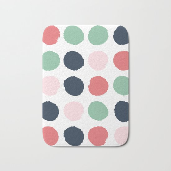 Painted dots abstract minimal modern art print for minimalist home decor nursery Bath Mat