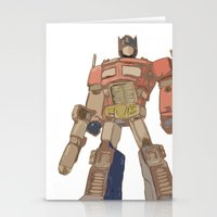 optimus prime Stationery Cards featuring Optimus Prime by colleencunha