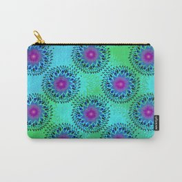 Teardrop Concentric Circle Pattern (Turquoise and Blue) Carry-All Pouch