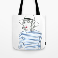 Stripes & Red Lips Tote Bag