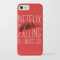 netflix iPhone & iPod Cases featuring Netflix is calling by Zeke Tucker