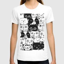 MONOCHROME CAT PATTERN T-shirt