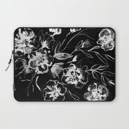 Boldly White - painted ink flowers on black background Laptop Sleeve