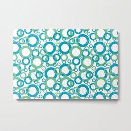 Blue Green White Geometric Ring Pattern 2021 Color of the Year AI Aqua 098-59-30 Metal Print