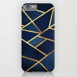 Navy Gold Stone Geometric iPhone Case