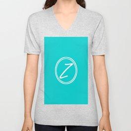 Monogram - Letter Z on Cyan Background Unisex V-Neck