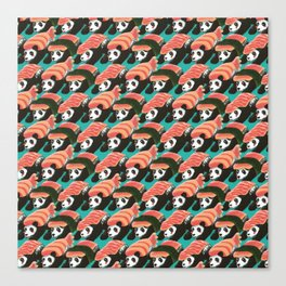 Sushi Panda Pattern Canvas Print