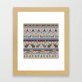 Fair Isle Happy Camper // Winter Wonderland with Woodland Animals Framed Art Print