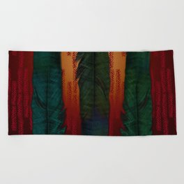 Feathers at campfire Beach Towel