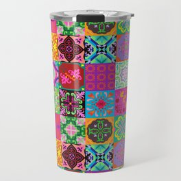 Bohemian Jungle Quilt Tiles Travel Mug