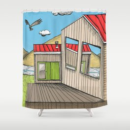 Skewed by Debbie Porter - Designs of an Eclectique Heart Shower Curtain
