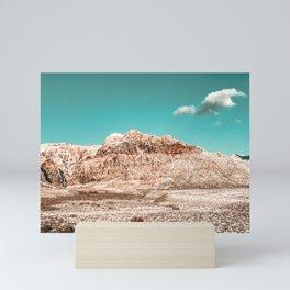 Vintage Red Rock Face // Desert Mountain in Winter Las Vegas Landscape Photograph Teal Sky Mini Art Print