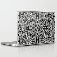folk Laptop & iPad Skins featuring Black & White Folk Art Pattern by micklyn